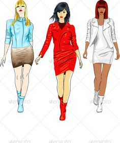 Vector Set of Fashion Girls in the Leather Suits  #GraphicRiver         Color sketch of a beautiful fashion young caucasian, asian and african girls with serious look in a white, blue and red leather suits with a short skirt, isolated on white background.  	         	 More pictures peoples for you:  	      Created: 30November11 GraphicsFilesIncluded: JPGImage #VectorEPS Layered: Yes MinimumAdobeCSVersion: CS Tags: african #asian #bangs #beautiful #black #blond #boots #brunette #caucasian…