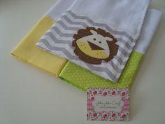 Kit confeccionado em fralda de ótima qualidade, barrado em tricoline, e aplicações em tecido.  Fraldinhas de boca são ideais para usar na higiene do seu bebê.