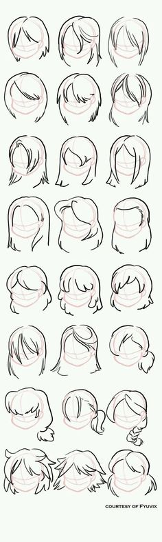 31 ideas drawing tutorial hair hairstyles design reference for 2019 - drawings Anime Drawings Sketches, Cool Art Drawings, Pencil Art Drawings, Hair Drawings, Hair Reference, Art Reference Poses, Drawing Reference, Design Reference, Hair Sketch