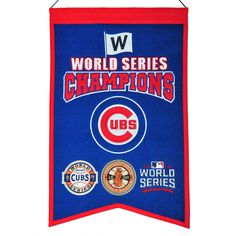 Must have product now available: MLB Chicago Cubs ... Get it here! http://www.757sc.com/products/mlb-chicago-cubs-3x-world-series-champs-banner-embroidered-14x22?utm_campaign=social_autopilot&utm_source=pin&utm_medium=pin