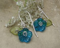 Little Teal Glass Flower and Leaves Earrings by nicholasandfelice, $ 12.50