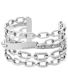 Michael Kors Chain Link Silver-Tone Statement Cuff Bracelet - Jewelry & Watches - Macy's Click VISIT link for more info Cheap Michael Kors, Michael Kors Outlet, Michael Kors Tote, Handbags Michael Kors, Michael Kors Jewelry, Lv Handbags, Jewelry Bracelets, Jewelry Watches, Jewelry Roll