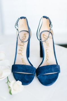 Something blue wedding idea - blue, open-toe wedding shoes for bride {Daidri Smythe Photography}