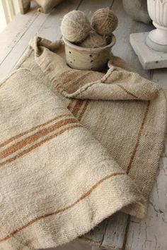 Wonderful antique / Vintage European grain sack ~ lovely grainsack fabric with caramel golden stripe ~ beautiful homespun , hand woven hemp linen. Lino Natural, French Fabric, Grain Sack, Feed Sacks, Linens And Lace, Vintage Textiles, Linen Fabric, Hand Weaving, Burlap