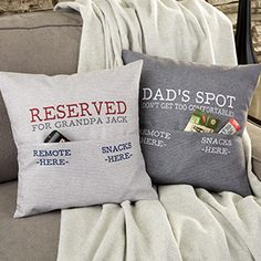 For Him Personalized Pocket Pillow Free personalization & fast shipping. Buy Personalized Pocket Pillow you can customize with your own text to create a un. Unique Gifts For Dad, Diy Gifts For Dad, Grandpa Gifts, Personalized Gifts For Dad, Personalized Pillows, Birthday Gifts For Dad, Gift For Men, Cool Gifts For Dad, Gift For Parents