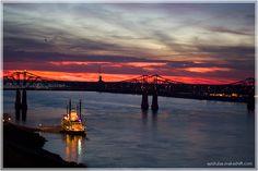 #Natchez #Mississippi River #sunset  www.visitnatchez.org