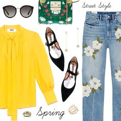 Spring Street Style by dressedbyrose on Polyvore featuring Rebecca Taylor, Rochas, Furla, Retrouvai, Ippolita, Mateo, Dolce&Gabbana, StreetStyle, Spring and ootd