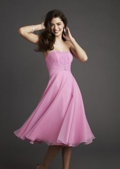 A-line bridesmaid dress with strapless neckline and tea length. Features rhinestones at the waist. Free made-to-measurement service for any size. Available colors seen as in Color Options.