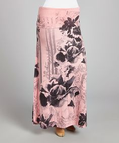 Look what I found on #zulily! Pink & Black Floral Maxi Skirt - Plus #zulilyfinds