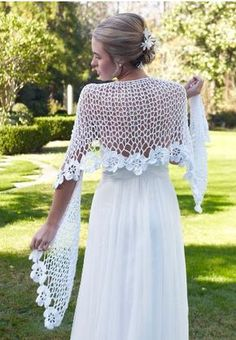 Cover your shoulders for your ceremony with this stunningly beautiful Spring Blooms Crochet Shawl Pattern. This crochet wedding shawl will drop jaws! Crochet Diy, Crochet Shawl Free, Mode Crochet, Crochet Shawls And Wraps, Crochet Scarves, Crochet Crafts, Crochet Clothes, Crochet Summer, Knit Shawls