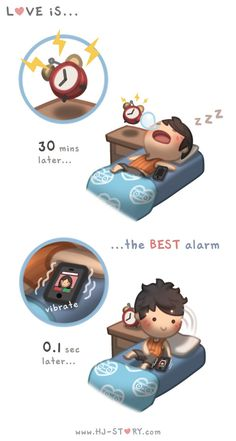 Check out the comic HJ-Story :: Love is. Best Alarm Love is. pinning this… Hj Story, Love Cartoon Couple, Cute Couple Comics, Cute Comics, Chibi Couple, Cute Love Stories, Cute Love Quotes, Love Story, Best Alarm