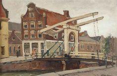 David Schulman - 2 works: Staalstraat; bridge over the Groenburgwal, Amsterdam; Medium: oil on plywood; oil on canvas