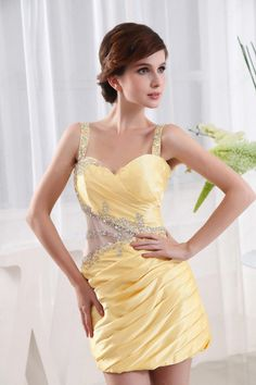Find Wholesale - Sheath/Column Straps Taffeta Short/Mini Daffodil Beading Cocktail Dress at Pickeddresses.com