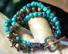 Designed and Hand-Crafted by myself in North Carolina, USA  Unisex Bracelet Rustic NUGGET Shamballa Wrap Macrame Bracelet African Turquoise & Mooikaite Gemstones Rustic style and natural semiprecious gemstones pack loads of vibrant color into this little bracelet...made in Shamballa macrame style with sturdy waxed Irish linen (which prevents stretching and Chinese knotting cord. **Yes this IS VEGAN!  This will wrap 1 times around a wrist measuring 7-7.5 with 2 loop closures and a Greek My...