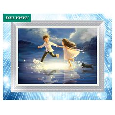 5D Diamond Painting Cross Stitch Boy and Girl Pattern Diy Diamond Embroidery Mosaic A Large Cartoon Picture For The Bedroom