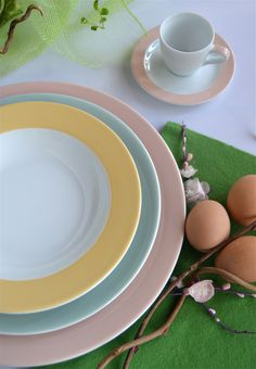 Delicate sfumature sorbetto per la tavola di #Pasqua: collezione I Pastelli  www.ancao.it