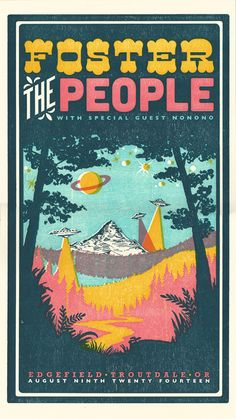 Foster the People, 4-color letterpress show poster collaboration with Adrienne Miller