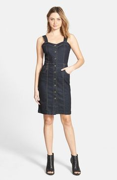 7 For All Mankind® Button Front Denim Tank Dress (Rich Rinse Runway Blue) available at #Nordstrom