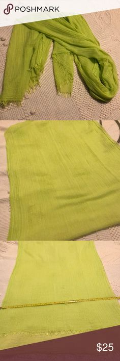 "CAbi Lemon-Lime Pop Scarf CAbi lime green scarf, 25"" x 74"" (excluding the fringe). Bunches up quite small if you like, great accent piece. Has one snag, shown in pic. CAbi Accessories Scarves & Wraps"