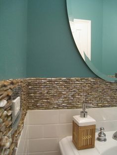 Powder Room Coastal Blue Design, Pictures, Remodel, Decor and Ideas - page 11, mother or pearl tile border