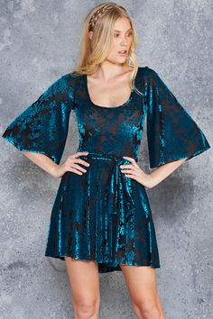 Burned Velvet Teal Floral Kimono Dress - LIMITED ($110AUD) by BlackMilk Clothing Size: M