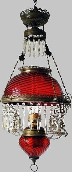 Cranberry Glass Oil Chandelier All Original Gone with the Wind Lamp found at Blue Dolphin Antiques on Ruby Lane Antique Oil Lamps, Antique Lighting, Vintage Lamps, Objets Antiques, Victorian Lamps, Victorian Furniture, Cranberry Glass, Kerosene Lamp, Red Glass