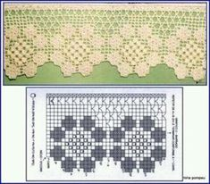 Crochet Lace Edging, Crochet Borders, Crochet Stitches Patterns, Irish Crochet, Crochet Doilies, Easy Crochet, Crochet Flowers, Stitch Patterns, Filet Crochet Charts