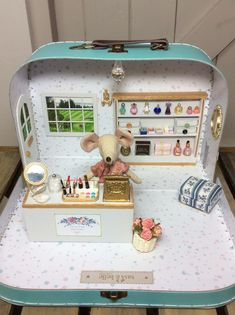Excited to share the latest addition to my #etsy shop: Olivia Rose Perfumery, suitcase diorama with Big sister Maileg Mouse.