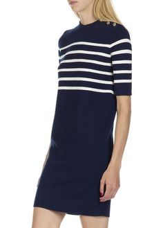 Robe courte et droite marinière en laine Bleu by MO&CO.