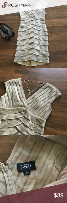 Spotted while shopping on Poshmark: Adrianna Papell gold shutter pleat dress! #poshmark #fashion #shopping #style #Adrianna Papell #Dresses & Skirts