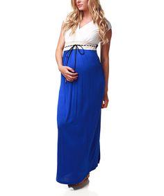 maternity royal blue white maternity nursing maxi dress wom