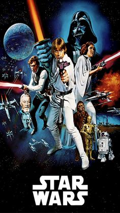 ↑↑TAP AND GET THE FREE APP! Movies Star Wars Darth Vader Luke Skywalker  Han Solo Leia Chewbacca Colorful Sci-Fi Poster Blockbuster HD iPhone 6 plus Wallpaper
