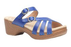 Stylish Dansko Shelby sandal in Cobalt with a cushioned footbed.