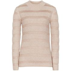 Reiss Porter Skinny Rib Roll Neck Jumper , Camel (1.395 NOK) ❤ liked on Polyvore featuring tops, sweaters, camel, slimming tops, pink striped sweater, stripe top, long sleeve jumper and long sleeve sweaters