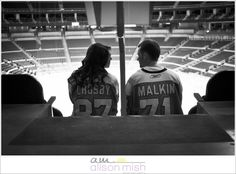 Our Pittsburgh Penguins themed engagement shoot at Consol Energy Center with the amazing @AlisonMishPhotography