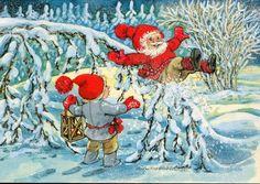 Marjaliisa Pitkäranta, Iloinen tonttu - Huuto.net Christmas Art, Beautiful Christmas, Christmas Decorations, Seasonal Image, Elves, Troll, Illustrators, Woodland, December