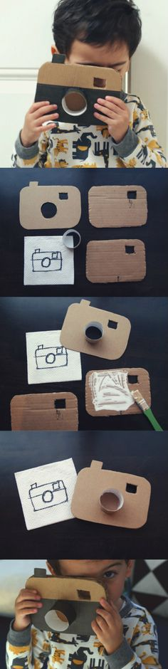 DIY: Cardboard Camera / easy toy for kids Kids Crafts, Toddler Crafts, Projects For Kids, Diy For Kids, Craft Projects, Arts And Crafts, Craft Ideas, Cardboard Camera, Cardboard Crafts