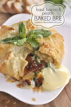 Basil, Bacon & Peach Baked Brie via /leigh/ Anne, YourHomebasedMom