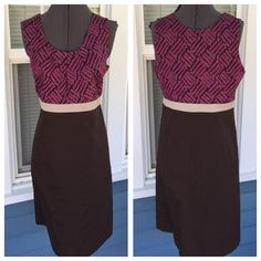 """MERONA Sheath Dress MERONA Sheath Dress.  Sleeveless.   Pleat adorned front.  Side zipper. Fully lined.  Purple and brown patterned bodice with brown skirt cotton material.  Length 38-1/2"""".  Excellent condition. Merona Dresses"""