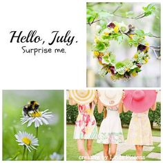 Hello July mood boards collage inspiration colors