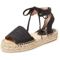Maiden Lane Women's Woven Espadrille Sandal - Black - Size 11 ($59) ❤ liked on Polyvore featuring shoes, sandals, black, woven sandals, ankle wrap flat sandals, flat sandals, black shoes and ankle wrap sandals