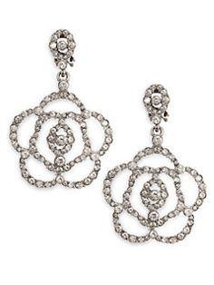 27 best wedding accessories images on pinterest wedding earrings Bridal Sets Engagement Rings oscar de la renta pav flower drop earrings flower earrings crystal earrings women s