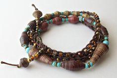 DatzKatz paper bead crochet necklace wrap Long by DatzKatz on Etsy, $30.00