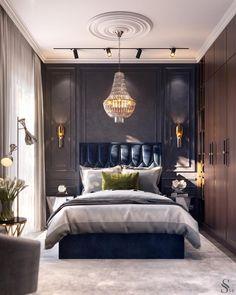 Гостевая спальня выполнена в синих тонах, которые в сочетании с мягкой фактурой мебели, ковра и текстиля создают умиротворенную атмосферу, благоприятную для отдыха после насыщенного дня. _________________________________________ The guest bedroom is made in blue tones, which, in combination with the soft texture of furniture, carpet and textiles, create a peaceful atmosphere, favorable for relaxing after a busy day.