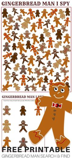Printable Gingerbread Man Game and I Spy Printable Search and Find Game. #christmas #freeprintable #ece #earlylearning #gingerbreadman