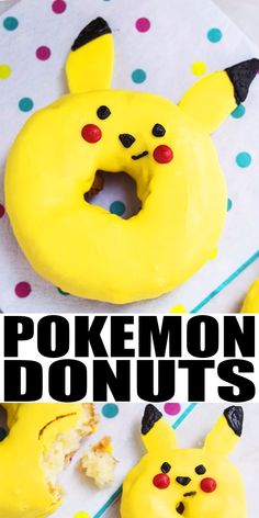 POKEMON DONUTS- Learn how to make quick and easy Pikachu donuts/ doughnuts, using store-bought donuts and melted black and yellow chocolate. Great for kids birthday parties. From CakeWhiz.com Easy Donut Recipe, Donut Recipes, Top Recipes, Amazing Recipes, Yummy Recipes, Yummy Food, Best Breakfast Recipes, Savory Breakfast, Sweet Breakfast