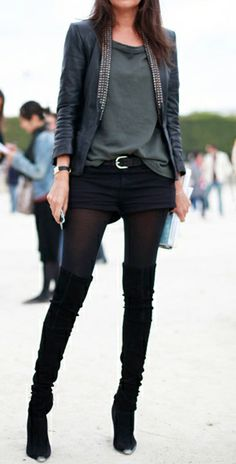 fashforfashion -♛ STYLE INSPIRATIONS♛  Options for the thigh high boots kept casual