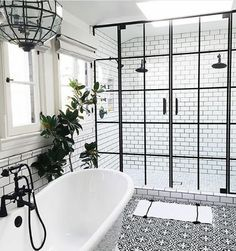 Classic master bathroom black and white tiles pattern tiles floor