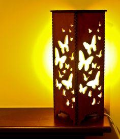 Handmade Laser Cut Table/Night/Bedside Lamp 'Butterfly'