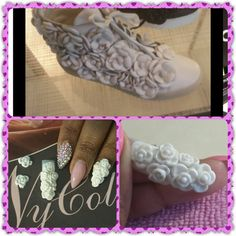 My nail I did mimicking Chanel Camellia Flower Sneaker.